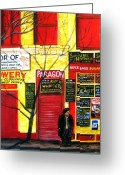 Store Fronts Greeting Cards - Bowery Greeting Card by Leonardo Ruggieri