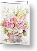 Floral  Greeting Cards - Bowl Full Of Roses Greeting Card by Arline Wagner