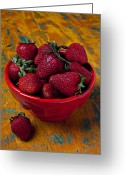 Luscious Greeting Cards - Bowl of strawberries  Greeting Card by Garry Gay