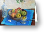 Rich Colors Greeting Cards - Bowl with apples Greeting Card by Grigor Malinov