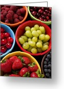 Cranberries Greeting Cards - Bowls of fruit Greeting Card by Garry Gay