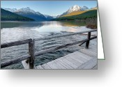 Glacier Greeting Cards - Bowman Lake Bridge Greeting Card by Glenn Barclay
