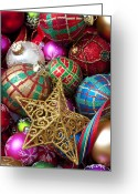 25th Greeting Cards - Box of Christmas ornaments with star Greeting Card by Garry Gay