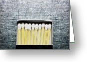 Stainless Steel Greeting Cards - Box Of Wooden Matches On Stainless Steel. Greeting Card by Ballyscanlon