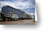 Boxcar Greeting Cards - Boxcar Graffiti Greeting Card by Pamela Baker