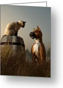 Boxer Greeting Cards - Boxer and Siamese Greeting Card by Daniel Eskridge