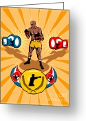 Belt Greeting Cards - Boxer Boxing poster Greeting Card by Aloysius Patrimonio