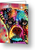Dog Portrait Greeting Cards - Boxer Cubism Greeting Card by Dean Russo