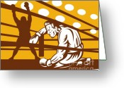 Fighting Greeting Cards - Boxer down on his hunches Greeting Card by Aloysius Patrimonio