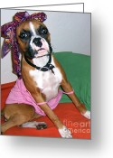 Fun Pastels Greeting Cards - Boxer Girl Greeting Card by Tisha McGee