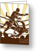 Boxer Greeting Cards - Boxer knocking out Greeting Card by Aloysius Patrimonio
