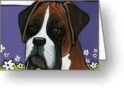 Doggy Greeting Cards - Boxer Greeting Card by Leanne Wilkes