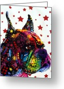 Canine Art Greeting Cards - Boxer Love Greeting Card by Dean Russo