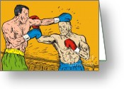 Match Greeting Cards - Boxer punching Greeting Card by Aloysius Patrimonio