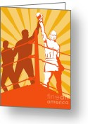 Referee Greeting Cards - Boxing Champion Greeting Card by Aloysius Patrimonio