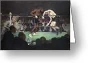 Match Greeting Cards - Boxing Match Greeting Card by George Luks