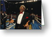 Attire Greeting Cards - Boxing Promoter Don King In The Boxing Greeting Card by Maria Stenzel