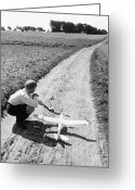 12-13 Years Greeting Cards - Boy (10-12) With Model Plane On Dirt Path (b&w) Greeting Card by Hulton Archive