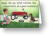 Overalls Greeting Cards - Boy and Dog with Broken Red Wagon Greeting Card by Theresa McFarlane Stites