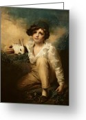 Feeding Painting Greeting Cards - Boy and Rabbit Greeting Card by Sir Henry Raeburn