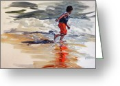 Playing On Beach Greeting Cards - Boy Chases Waves on Beach Greeting Card by Christine Montague