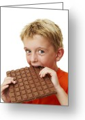 Body Image Greeting Cards - Boy Eating Chocolate Greeting Card by Ian Boddy