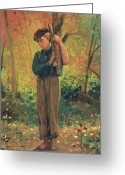 Kid Painting Greeting Cards - Boy Holding Logs Greeting Card by Winslow Homer