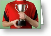 Award Greeting Cards - Boy Holding Trophy Greeting Card by Jeffrey Coolidge