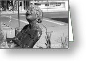 Sculture Greeting Cards - Boy in Fountain Sculture Grand Junction CO Greeting Card by Tommy Anderson