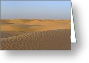 Desert Solitude Greeting Cards - Boy looking at dunes in Sahara Desert Greeting Card by Sami Sarkis