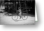 Poor Pyrography Greeting Cards - Boy on Bicycle Greeting Card by Stefan Olivier