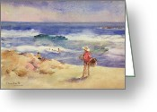 Watercolor On Paper Greeting Cards - Boy on the Sand Greeting Card by Joaquin Sorolla