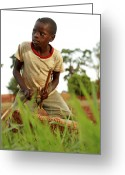 Uganda Greeting Cards - Boy Playing A Drum, Uganda Greeting Card by Mauro Fermariello