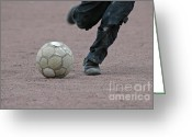 Kicking Football Greeting Cards - Boy playing soccer with a ball Greeting Card by Matthias Hauser