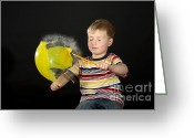 Human Being Photo Greeting Cards - Boy Popping A Balloon Greeting Card by Ted Kinsman