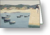 Young Man Greeting Cards - Boy Reading on a Harbours Edge  Greeting Card by William Strang