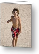 Lad Greeting Cards - Boy running on beach Greeting Card by Purcell Pictures