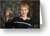 Human Being Photo Greeting Cards - Boy With A Hot Glass Of Water Greeting Card by Ted Kinsman