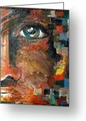 Provocation Greeting Cards - Boy With Blue Eye And Colors Cube Greeting Card by Patty Meotti