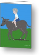 Happy Texas Artist Greeting Cards - Boy with Calf Greeting Card by Fred Jinkins