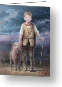 Young Man Greeting Cards - Boy with Dog Greeting Card by Hans Droog