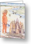 Sandcastle Greeting Cards - Boy with Sandcastle Greeting Card by Shawn McLoughlin