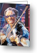 Musician Drawings Greeting Cards - Boyd Tinsley and 2007 Lights Greeting Card by Joshua Morton