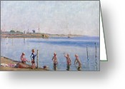 Skinny Dip Greeting Cards - Boys at Waters Edge Greeting Card by Johan Rohde