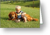 Dog Photographs Greeting Cards - Boys Best Friend Greeting Card by Carmen Del Valle