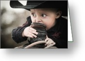 Cowboy Hat Photo Greeting Cards - Boys I cut my teeth on a ropin saddle Greeting Card by Ron  McGinnis