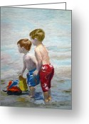 Playing On Beach Greeting Cards - Boys On The Beach Greeting Card by Lamarr Kramer