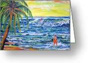 Boogie Board Greeting Cards - Boys on the Beach Greeting Card by Patricia Taylor