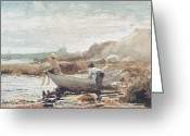 Shores Painting Greeting Cards - Boys on the Beach Greeting Card by Winslow Homer 