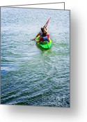 Sea Kayak Greeting Cards - Boys Rowing Greeting Card by Carlos Caetano